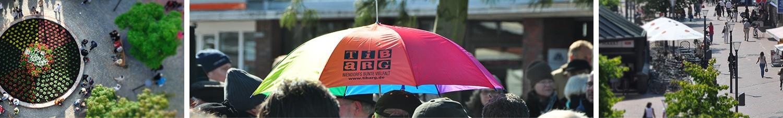 Banner aus drei Teilen: Vogelansicht eines bunten kreisförmigen Blumenbeets, ein bunter Regenschirm über den Köpfen von Menschen, Blick entlang einer EInkaufsstraße aus einem erhöhten, schrägen Winkel