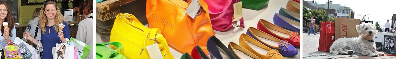 Ein Banner aus drei Bildern: zwei mit Einkaufstaschen bepackte Frauen halten Waffeln mit Eiscreme, bunte Handtaschen und Schuhe in zwei Reihen, ein kleiner Hund liegt vor Einkaufstüten