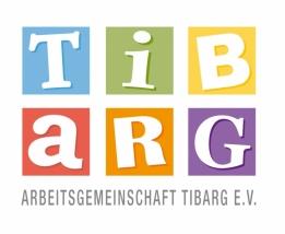 """Das bunte Logo der AG Tibarg e.V., in dem jeder Buchstabe des Worts Tibarg in einem eigenen bunten Rahmen steht und darunter die Worte """"Arbeitsgemeinschaft Tibarg e.V."""""""