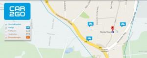 Screenshot einer Karte mit car2go Markierungen