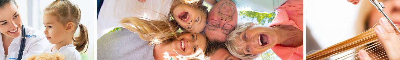 Banner aus drei Teilen: Eine Ärztin sitzt neben einem Kind und lächelt diesem zu, fünf Personen aus verschiedenen Generationen stecken die Köpfe zusammen und sehen von oben in die Kamera, Nahaufnahme der Hand und Schere eine Friseurin bei der Arbeit