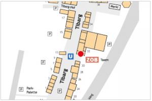 Auf dem Lageplan ist der Standort von Black Bean mit einem roten Kreis gekennzeichnet.