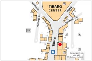 Karte des Tibarg mit Lagekennzeichnung der Blumen-Apotheke