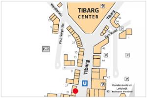 Karte des Tibarg mit Lagekennzeichnung der Heudorfer Apotheke