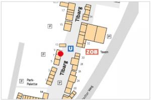 Karte des Tibarg mit Lagekennzeichnung der Praxis von Dr. Peter Joos, Dr. Cora Pantel und Dr. Jasmin Barekzai
