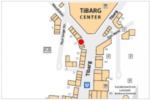 Karte des Tibarg mit Lage des Sanitätshaus Am Tibarg in Hamburg Niendorf