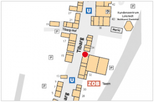 Karte des Tibarg mit Lagekennzeichnung der Storchen-Apotheke