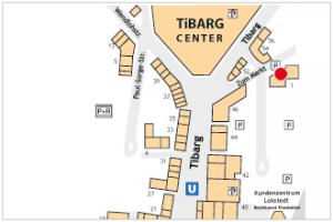 Karte des Tibarg mit Lagekennzeichnung von Hörgeräte Zacho