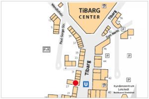 Karte der Einkaufsstraße Tibarg in Hamburg Niendorf mit Lage des Optikers Optik Lassen