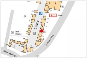 Karte des Tibarg mit Lagekennzeichnung von Mrs. Sporty