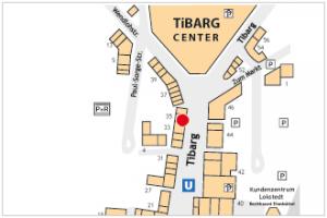 Auf dem Lageplan ist der Standort der Hamburger Volksbank mit einem roten Kreis gekennzeichnet.