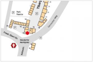 Lageplan vom Tibarg mit Kennzeichung von der Sparda-Bank Hamburg eG