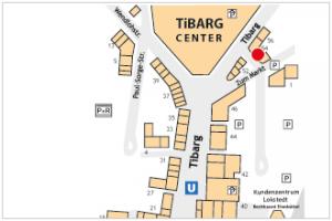 Karte des Tibarg mit Lagekennzeichnung von ASB Sozialstation
