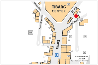 Karte des Tibarg mit Lagekennzeichnung der Physiotherapiepraxis Niendorf