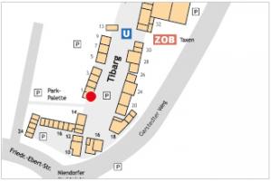 Karte des Tibarg mit Lagekennzeichnung des AWO Seniorentreffpunkt