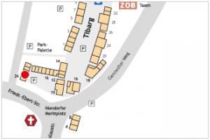 Karte mit Lage des Kindergarten Wurzelzwerge am Niendorfer Marktplatz
