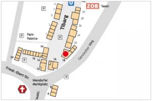 Karte des Tibarg mit Lagekennzeichnung von ASB Ortsverband Hamburg-Eimsbüttel e.V.