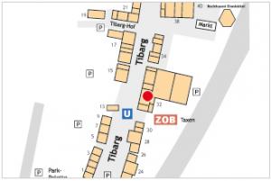 Karte des Tibarg mit Lagekennzeichnung von Dr. med. Christoph Dittrich