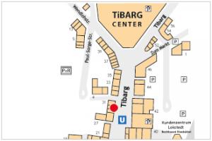 Lageplan vom Tibarg mit Kennzeichung von der Nur Hier Bäckerei