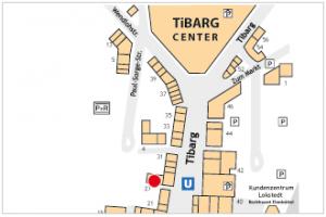 Lageplan vom Tibarg mit Kennzeichung von Die kleine Fischerstube