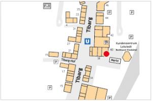 Karte mit Lage des Restaurants Humboldt in der Einkaufsstraße Tibarg in Hamburg Niendorf