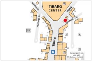 Lageplan vom Tibarg mit Kennzeichung vom Porto Marina