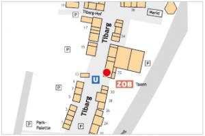 Lageplan vom Tibarg mit Kennzeichung vom Tibarg Kebap Haus