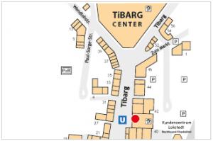 Karte mit Lage des DEPOT Geschäfts am Tibarg