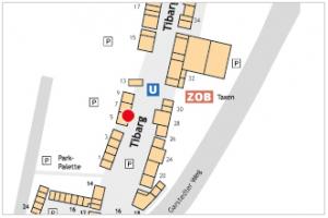 Karte mit Lage des Mäc-Geiz Haushalts-Discounter am Tibarg