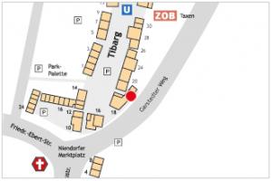 Karte mit Lage des Geschäfts naturstein + Fliesen Design am Tibarg