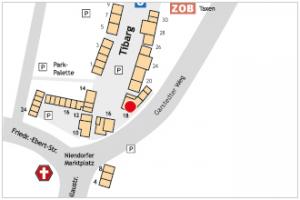 Auf dem Lageplan ist der Standort von Castro & Schulz mit einem roten Kreis gekennzeichnet.