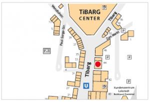 Lageplan vom Tibarg mit Kennzeichnung von Edeka