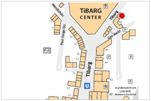 Auf dem Lageplan ist der Standort vom Friseur Kopftheater mit einem roten Kreis gekennzeichnet.