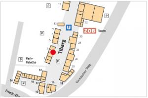 Auf dem Lageplan ist der Standort von Star Beauty mit einem roten Kreis gekennzeichnet.