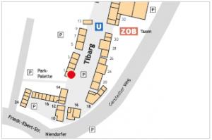 Lageplan vom Tibarg mit Kennzeichnung von Nostalgie - Polnische Delikatessen