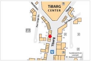 Auf dem Lageplan ist der Standort von Tandique mit einem roten Kreis gekennzeichnet.