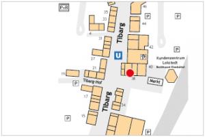 Karte mit Lage des Base Shop am Tibarg