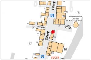 Karte mit Lage des Vodafone Shops am Tibarg