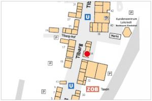 Lageplan des Tibarg mit Kennzeichnung der Lage von DER Deutsches Reisebüro in Hamburg Niendorf
