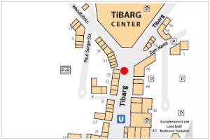 Karte mit Lage des Reisebüros Sonnen-Reisen am Tibarg