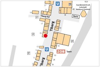 Auf dem Lageplan ist der Standort der Rossmann-Filiale mit einem roten Kreis gekennzeichnet.