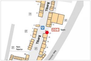 Karte mit Lage des Tabakwarengeschäfts M. Niemeyer OHG am Tibarg