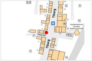 Karte des Tibarg mit Lagekennzeichnung der Praxis von Dr. Ernst Thomass