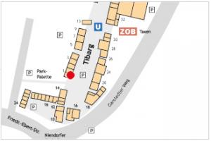 Karte des Tibarg mit Lagekennzeichnung der Praxis von Dr. med Jochen Hake