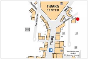 Lageplan des Tibarg mit Markierung der Praxis von Matthias Zuhn