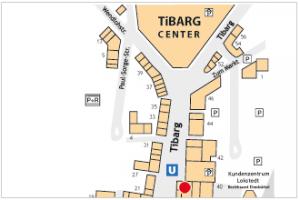 Karte des Tibarg mit Lagekennzeichnung von Dr. med. Christine Seeler und Nicola Füllbrandt