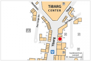 Karte des Tibarg mit Lage der Zahnarzpraxis von Konstantin von Laffert