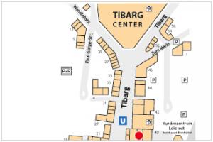 Karte des Tibarg mit Lagekennzeichnung der Praxis von Dr. med. dent. Hans-Christoph Hushahn und Dr. Volker Kohl