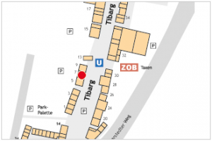 Karte des Tibarg mit Lagekennzeichnung von Dr. med. Monika Falcke