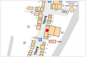 Auf dem Lageplan ist der Standort der Praxis von Dr. med. Wilhelm Westphal mit einem roten Kreis gekennzeichnet.